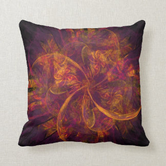Orange Fractal Throw Pillow