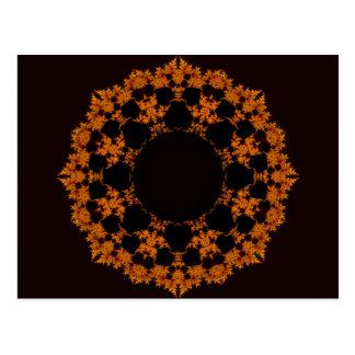Orange Fractal Star Postcard