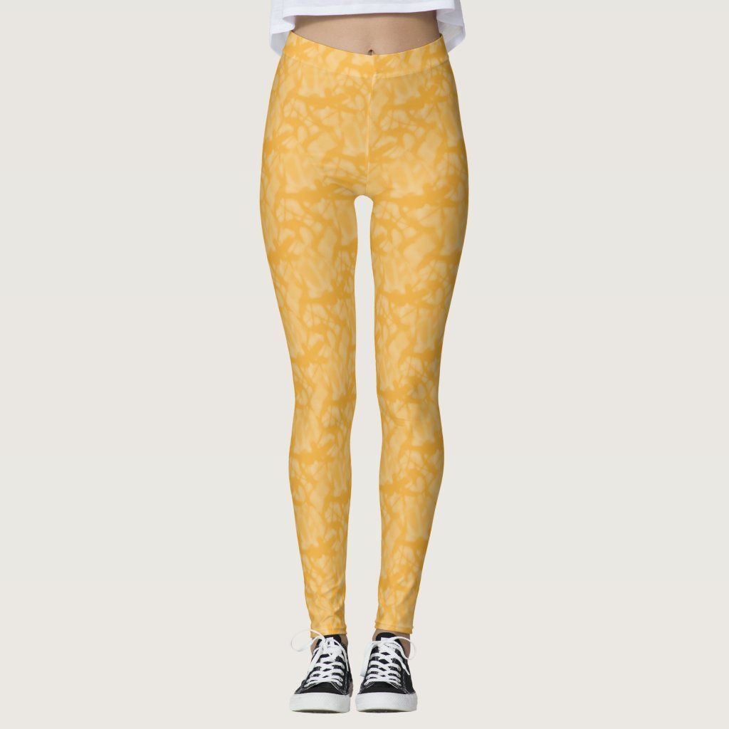 Orange Fractal-style Look Leggings
