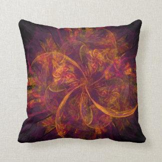 Orange Fractal Throw Pillow