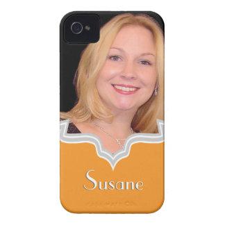 Orange frame girly photo iPhone template custom iPhone 4 Case