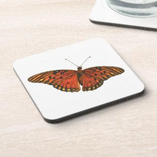 Orange Fritillary Butterfly Square Cork Coaster