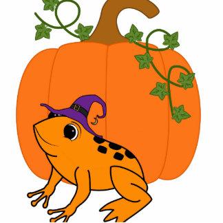 Orange Frog Witch with Halloween Pumpkin Photo Sculpture Button