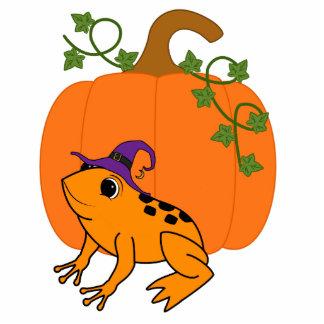Orange Frog Witch with Halloween Pumpkin Photo Sculpture Magnet