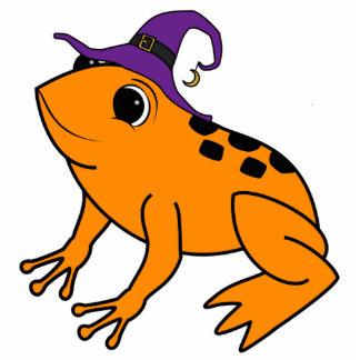 Orange Frog with Halloween Witch Hat & Moon Charm Photo Sculpture Keychain