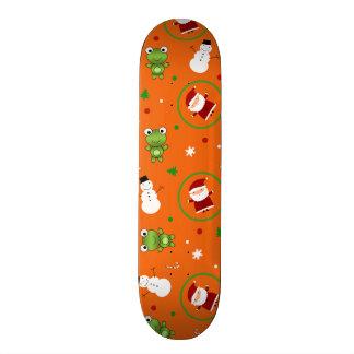 Orange frogs santa claus snowmen skateboard