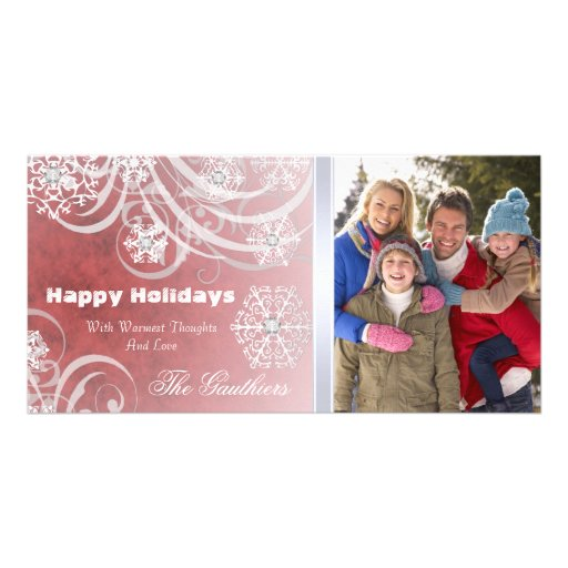 Orange Frosted Flourishes Holiday Photo Card