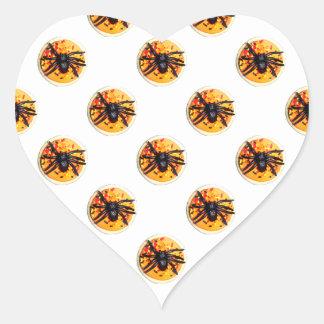 Orange Frosted Spider Halloween Cookie Pattern Heart Sticker