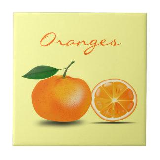 Orange Fruit and Orange Slice Simple and Classic Ceramic Tile