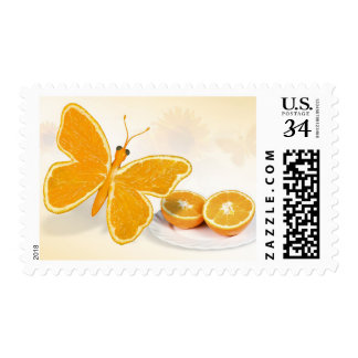 Orange Fruit Butterfly Clean Living Stamp