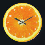 """Orange fruit Clock with numbers<br><div class=""""desc"""">orange,  citrus,   fruit,  kitchen,  food,  fruity,  foodie,  healthy,  oranges,  &quot;vitamin c&quot;,  nutriton,  nutritionist,  dietitian,  dietician,  fruits,  slice,   fun,  funny,  humor,  cool,  awesome,  funky,  groovy,  contemporary,  modern,  design,  silly,  whimsy,  whimsical,  photography,  photo,  giant,  big,  enlarged,  cook,  cooking,  cookery,  chef, </div>"""