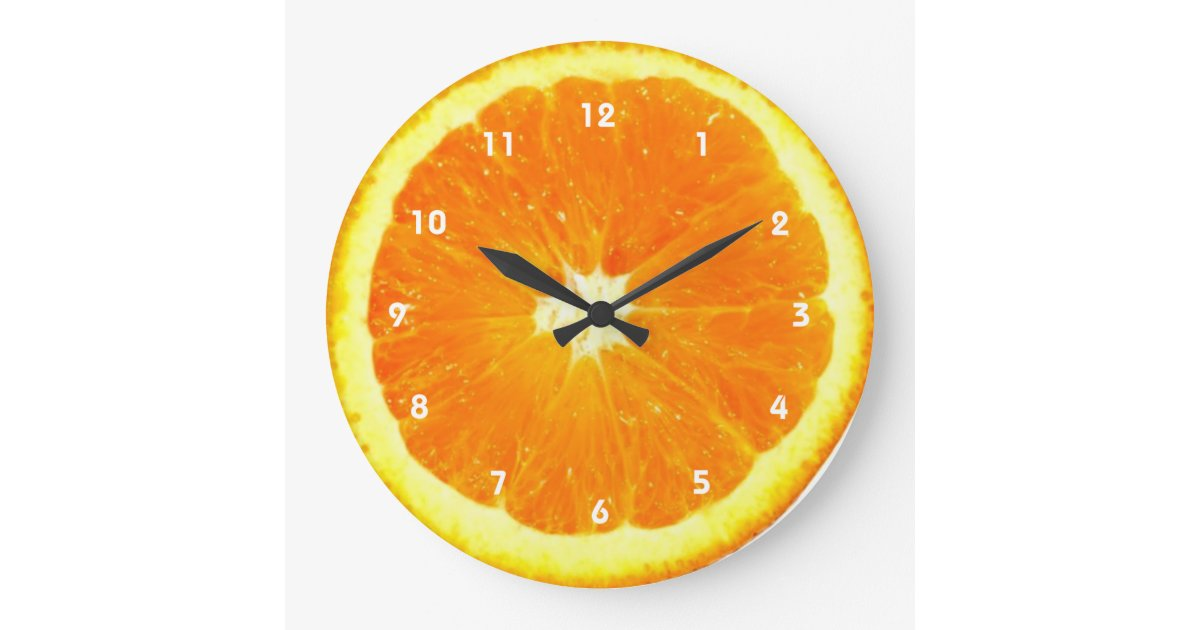 Orange Fruit Clock With Numbers Zazzle Com