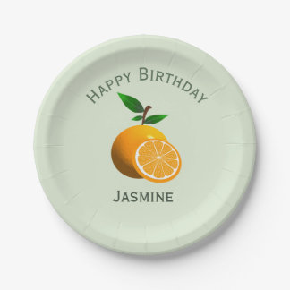 Orange fruit, happy birthday personalize name paper plate