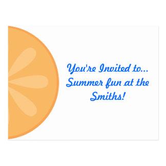 Orange Fruit Invite Postcard