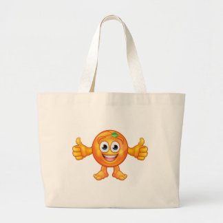 Orange Fruit Mascot Cartoon Character Large Tote Bag