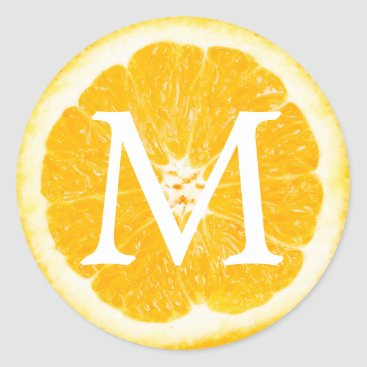 Beach Themed Orange Fruit Monogram Tropical Wedding Classic Round Sticker