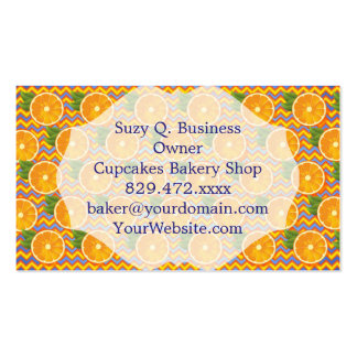 Orange Fruit on Colors Chevrons and Blue Business Card