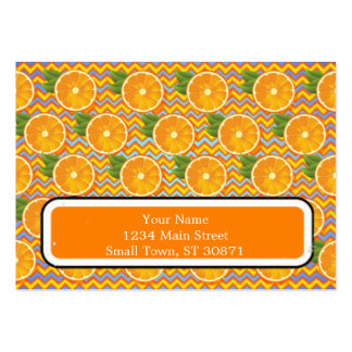 Orange Fruit on Colors Chevrons and Blue Large Business Card