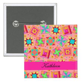 Orange Fuchsia Patchwork Quilt Blocks Name Badge 2 Inch Square Button