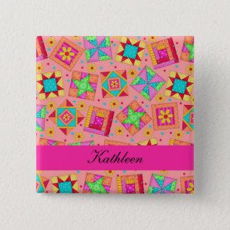 Orange Fuchsia Patchwork Quilt Blocks Name Badge Button