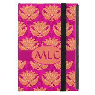 Orange Fuchsia Pink Art Nouveau Damask Monogram Cover For iPad Mini