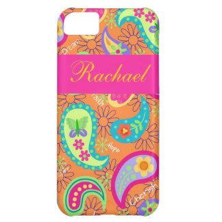 Orange Fuchsia Pink Modern Paisley Pattern Name Case For iPhone 5C