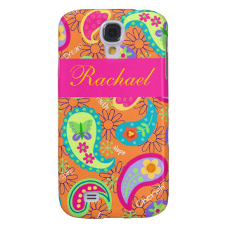 Orange Fuchsia Pink Modern Paisley Pattern Name Samsung S4 Case