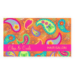Orange Fuchsia Pink Modern Paisley Whimsy Pattern Business Cards
