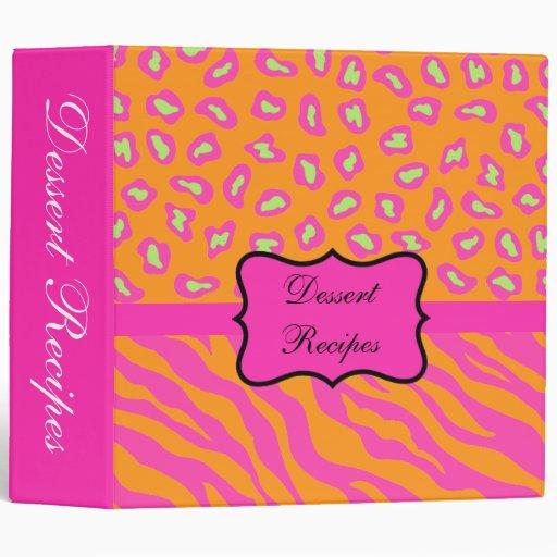 Orange & Fuchsia Pink Zebra & Cheetah Custom Album Vinyl Binder