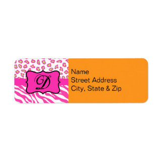 Orange & Fuchsia Pink Zebra & Cheetah Personalized Label