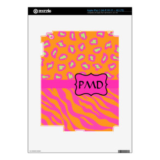 Orange & Fuchsia Pink Zebra & Cheetah Skin Custom iPad 3 Skin