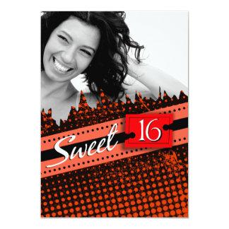 Orange Funky Sweet 16 Birthday Photo Card