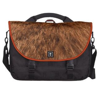 Orange fur laptop bag