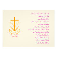 Orange Fuschia Love Never Fails Christian Wedding Custom Invitations