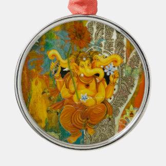 Orange Ganesha Metal Ornament
