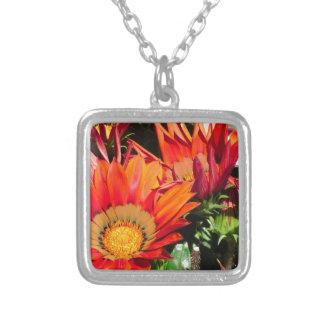 Orange Gazania flowers genus asteraceae Silver Plated Necklace