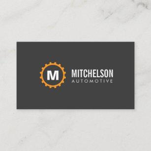 Mechanic business cards templates zazzle orange gear initial automotive repair mechanic business card colourmoves