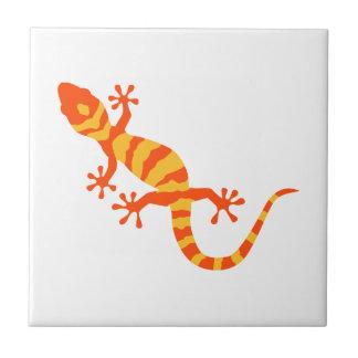 Orange gecko small square tile