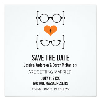 Orange Geeky Glasses Save the Date Announcement