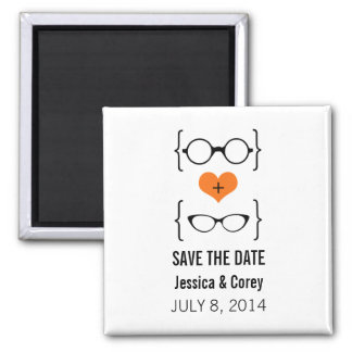 Orange Geeky Glasses Save the Date Magnet