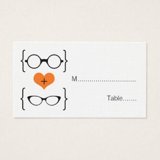 Orange Geeky Glasses Wedding Place Cards