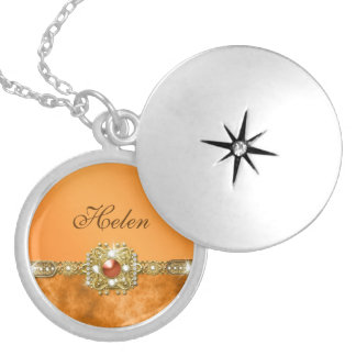 Orange gem girly name silver plated necklace