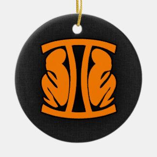 Orange Gemini Ceramic Ornament