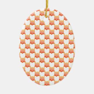 Orange Geo Ripple Ceramic Ornament