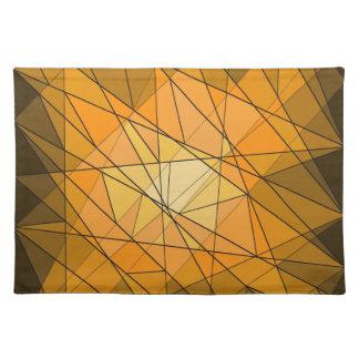 Orange Geometric Gemstone Diamond Design Placemat