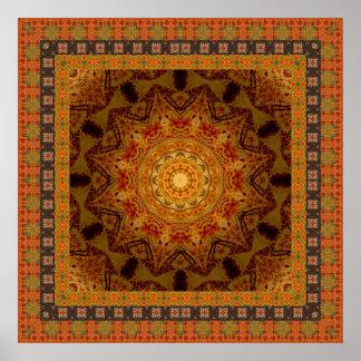 Orange Geometric Star Poster