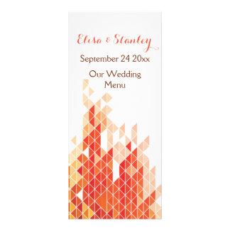 Orange geometric triangles wedding menu card
