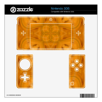 Orange geometric wood pattern decal for nintendo 3DS