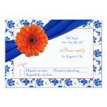Orange Gerber Cobalt Damask Floral Wedding RSVP 3.5x5 Paper Invitation Card