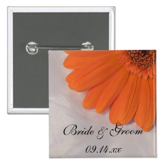 Orange Gerber Daisy and White Satin Wedding Button